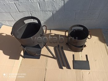 Купить печь #0803-2мм. под казан 8л. с дверцей, со съемными ногами и полкой