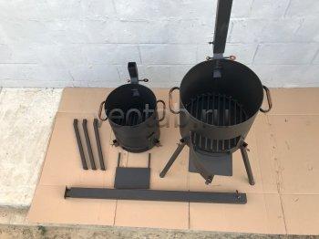 Купить печь #0808-3мм. под казан 6,8л. с зольником, трубой и дверцей, со съемными ногами и полкой
