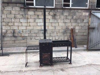 Купить мангал #0134 кованый с печкой под 8-22 литров/казан и трубой