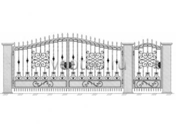 Заборы металлические с коваными воротами #48