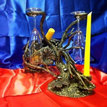Кованый подарок #015 (минибар/винница/подсвечник с подставкой под бокалы в виде дерева)