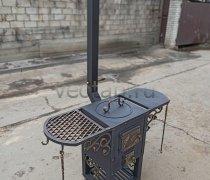 Купить печь #0501 (кованая) для казана с полками