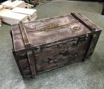 """Кованый подарок #077 (ящик """"состаренный"""" под пожарную машину с гравировкой)"""