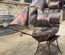 Купить мангал #7005 кованный пиратский корабль на подставке