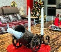Кованый подарок #052 «Пушка царская» (виница, подставка под бутылку с подсвечниками)