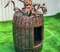 Купить мангал #9003 подставка под мангал, дровница в виде осьминога с бочкой