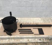 Купить печь #0806-2мм. под казан 6,8л. с трубой и дверцей, со съемными ногами и полкой