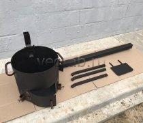 Купить печь #0807-3мм. под казан 6,8л. с трубой и дверцей, со съемными ногами и полкой