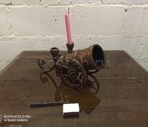 """Кованый подарок #111 """"Царь-Пушка"""" (Коньячница/Винница)"""" с подсвечником"""