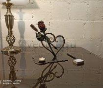 Кованый подарок #123 Роза в сердце и стрела, с подсвечником