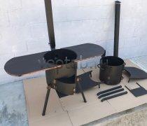 Купить печь #0836-2мм. под казан 8л. с полками, с трубой и дверцей, со съемными ногами и полкой