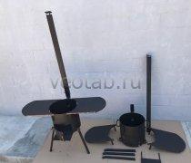 Купить печь #0838-3мм. под казан 8л. с зольником,с полками, с трубой и дверцей, со съемными ногами и полкой