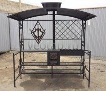 Купить мангал #0184 с логотипом, с печкой и крышей